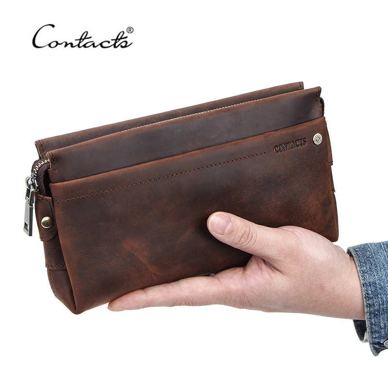 CONTACT'S Men Travel Wallets Crazy Horse Leather Long Purses Business Clutch Bags For Male Card Holder Handy Passport Holder