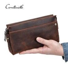 İletİşİm erkekler seyahat cüzdanları çılgın at deri uzun çantalar iş el çantası erkek kart tutucu kullanışlı pasaport tutucu