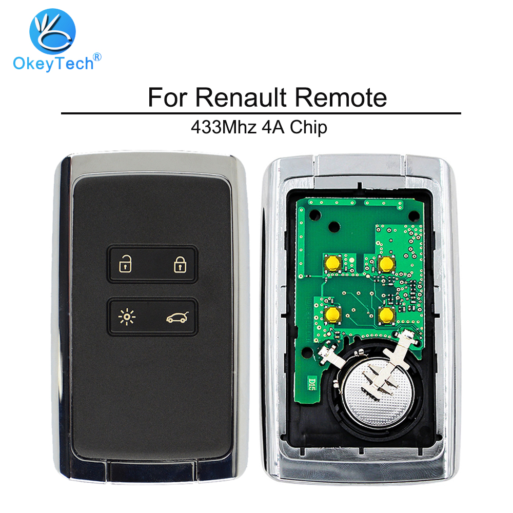 Keyecu Uncut Remote Key Shell Case Fob 4 Button for Renault Laguna Koleos Megane