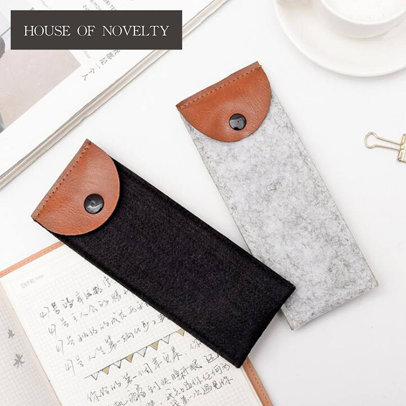 Black Grey Felt Mini Buttons Capacity Pencil Bag Stationery Storage Organizer Pencil Case School Supply