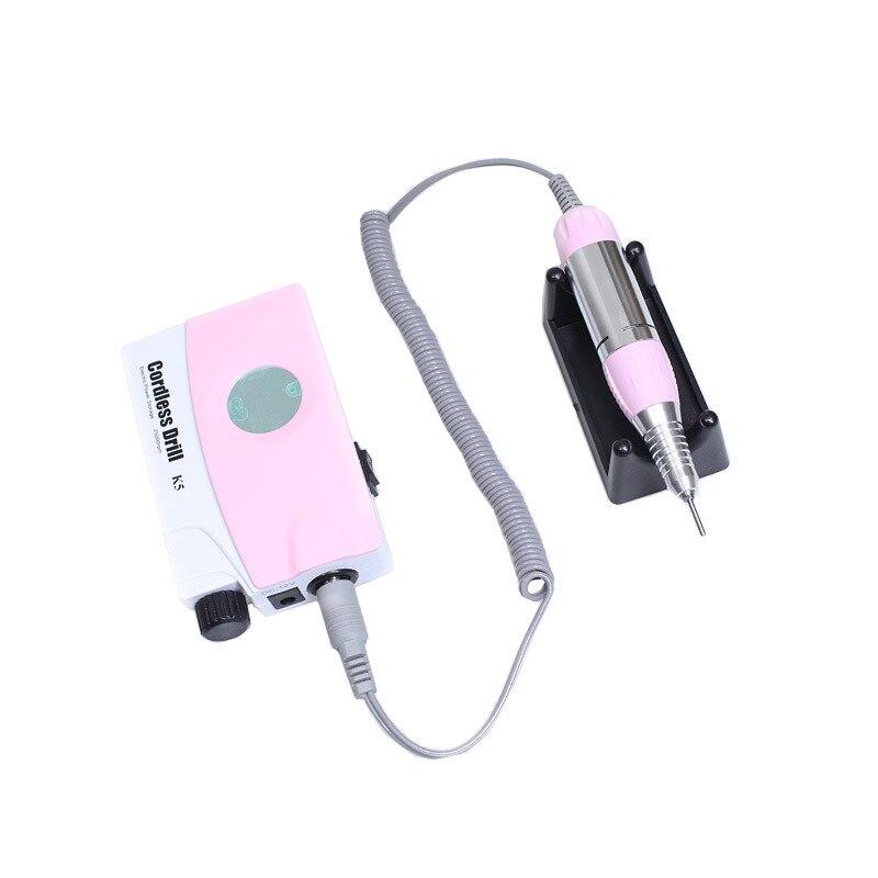 Розовый перезаряжаемый Электрический полировальный станок для ногтей, маникюрные сверла, пилочка для ногтей, набор для педикюра с ЖК дисплеем