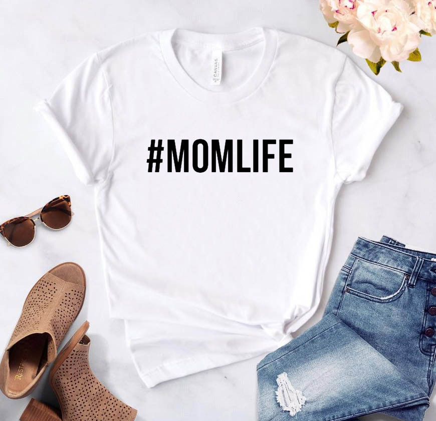 #MOMLIFE Letters print Women tshirt Cotton Casual Funny t shirt For Lady Girl Top Tee Hipster 6 Colors Drop Ship SB-12 3