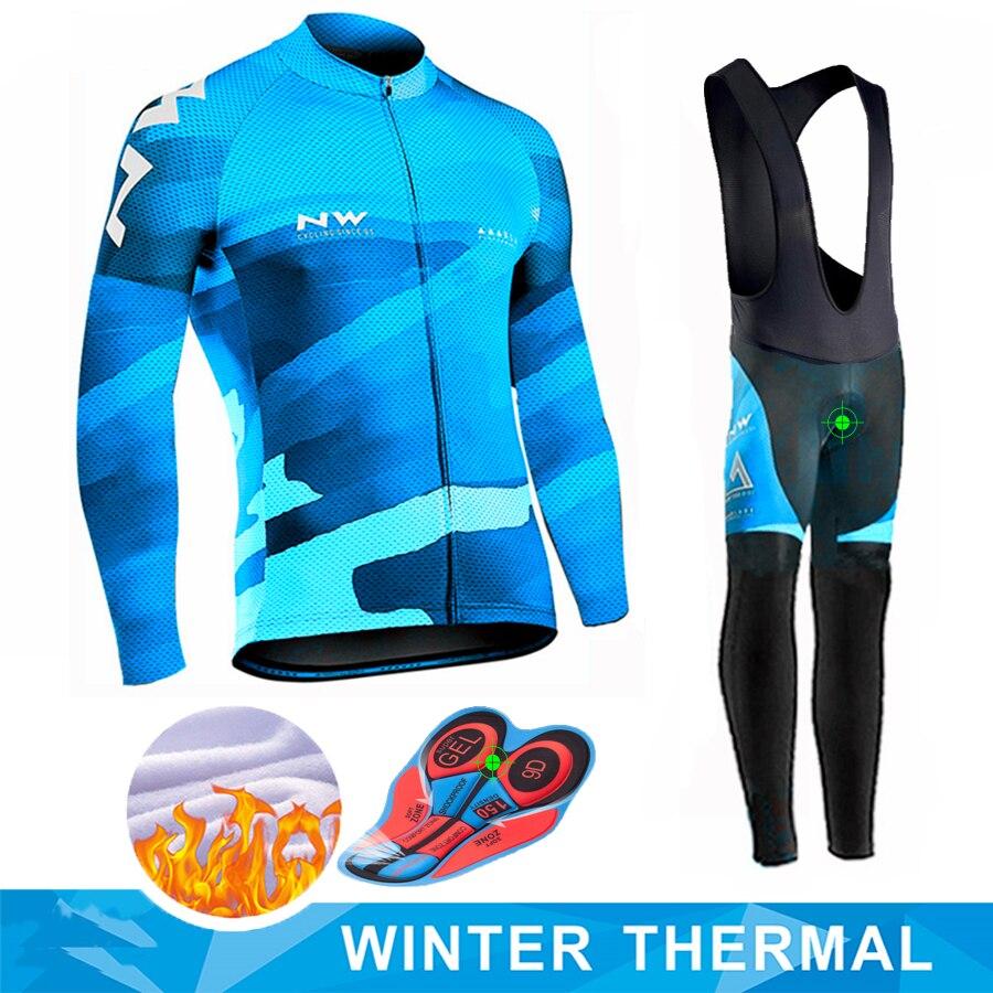 2019 NW Pro équipe hiver à manches longues cyclisme Jersey ensemble vtt vélo vêtements uniforme thermique polaire vélo Maillot Ropa Ciclismo