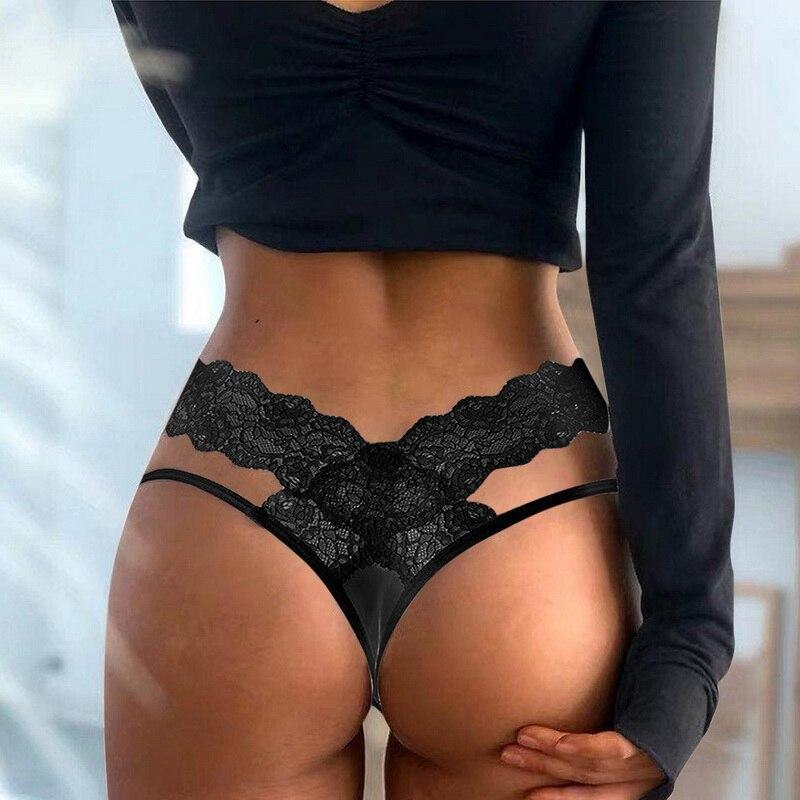 Сексуальные женские бандажные кружевные стринги с вырезами, трусики, нижнее белье, T-образное нижнее белье, мягкое удобное нижнее белье с ба...