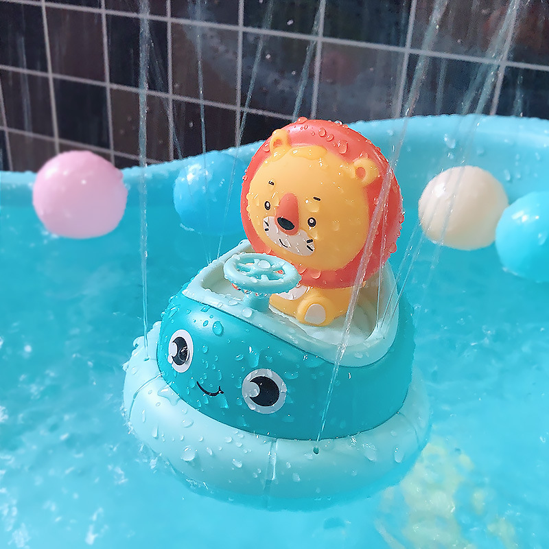 Children's Bathroom Electric Rotating Cup Rabbit Lion Combination Baby Water Spray Bath Puzzle Play Water Toys Without Battery
