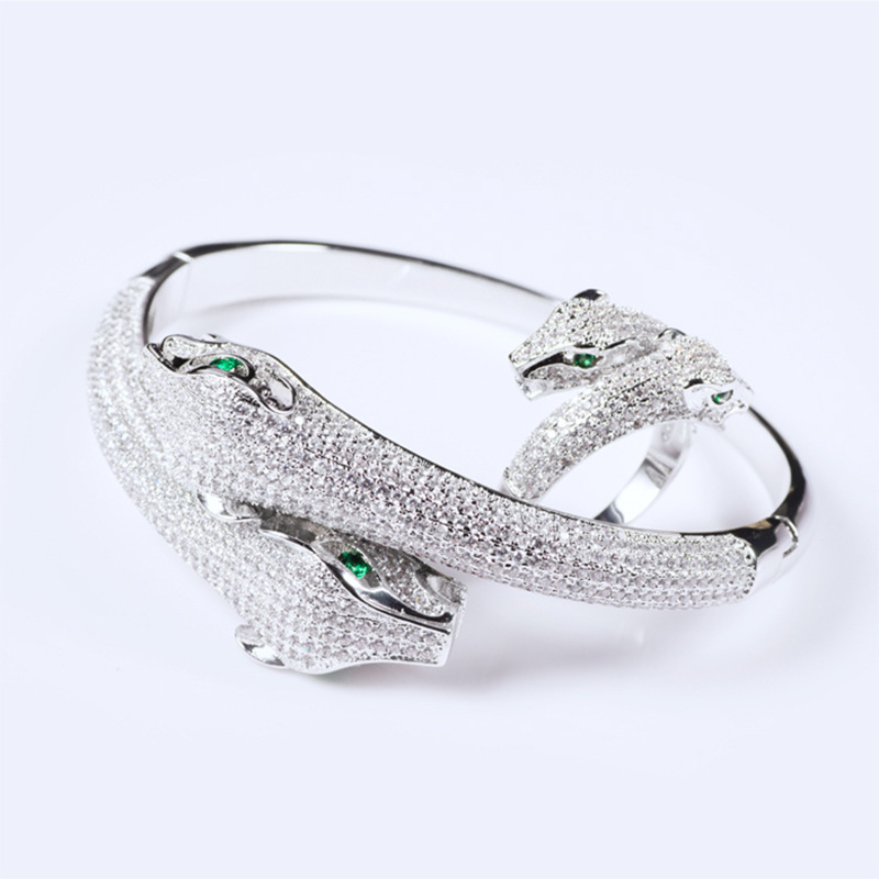 Yagin Zircon Double Head Leopard Hot Style Animal Female Opening Jewelry Wholesale Bracelets Bangles