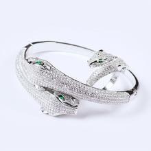 Yagin Zircon Double Head Leopard Hot Style Animal Female Opening Head Jewelry Wholesale Bracelets Bangles недорого