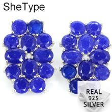 9.9g Real Blue Sapphire Created Peridot Tourmaline 925 Solid Sterling Silver Earrings 29x20mm
