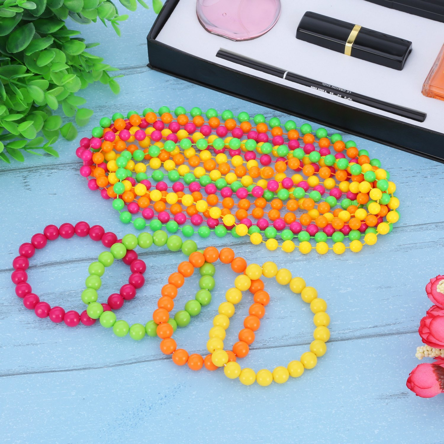 80's Ball Party Solid Color Necklace Neon Wire Plastic Bead Chain Neon Bead Necklace