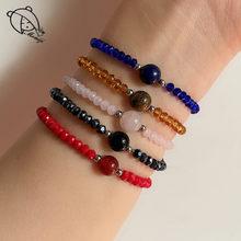 Momiji artesanal frisado pulseiras pulseiras para mulher natural pedra jóias boêmio tigereye cristal grânulos charme pulseira presentes