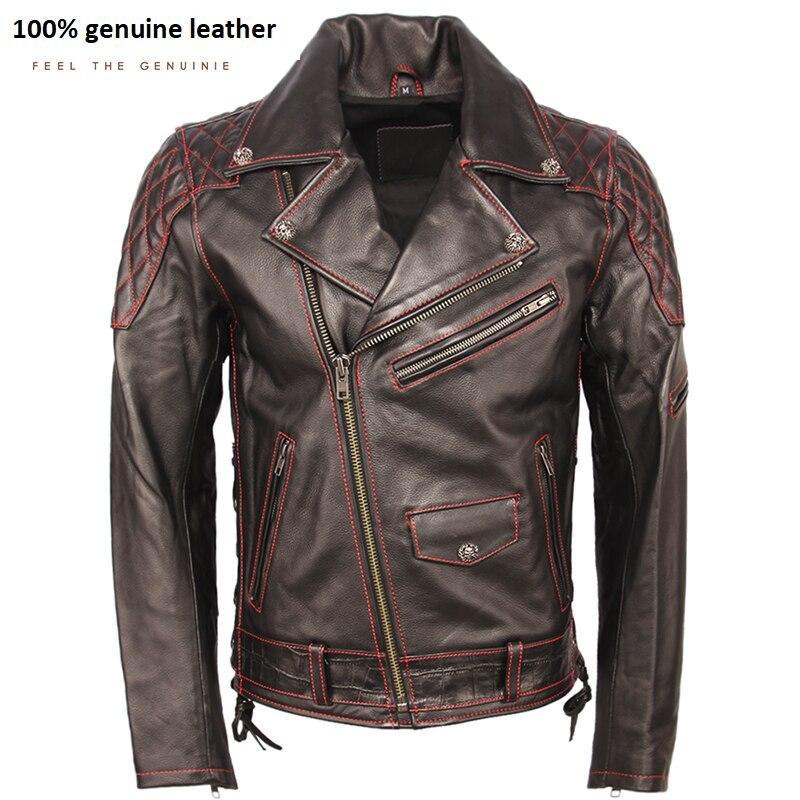 Fashion Motorcycle Leather Jacket Thick 100% Cowhide Slim Fit Men Genuine Leather Coat Motor Biker Jacket Winter Clothing M355