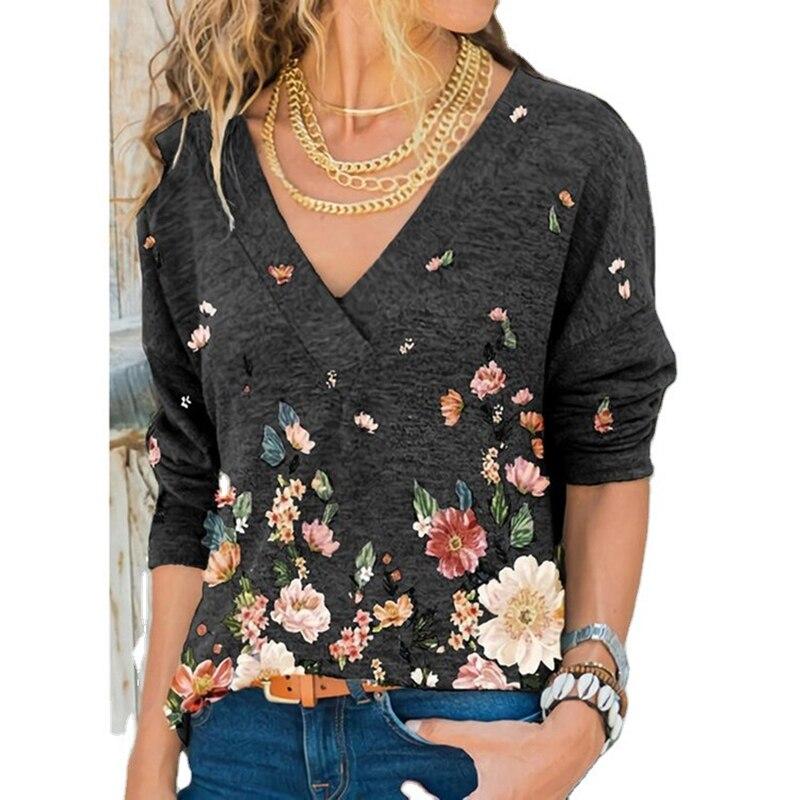 Snake YX abbigliamento donna autunno e inverno nuova moda donna scollo a v stampa floreale T-shirt allentata Casual a maniche lunghe taglie forti 2