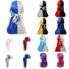 Long Tail Durag Bandanas Unisex Fashion Patchwork Pirate Hats Silky Satin Turban India Hat Hair Accessories Women Men Head Scarf