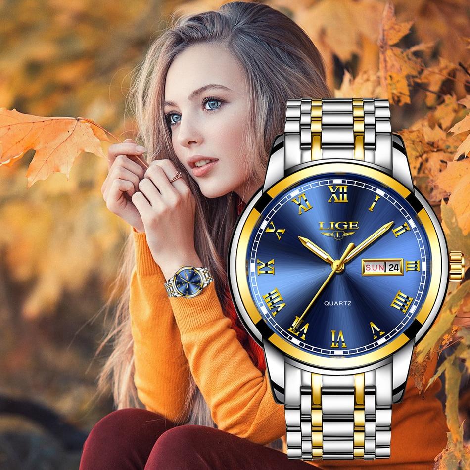 LIGE Couple Watch Gold Blue Watch Women Quartz Watches Ladies Top Brand Luxury Female WristWatch Girl Clock Relogio Feminino