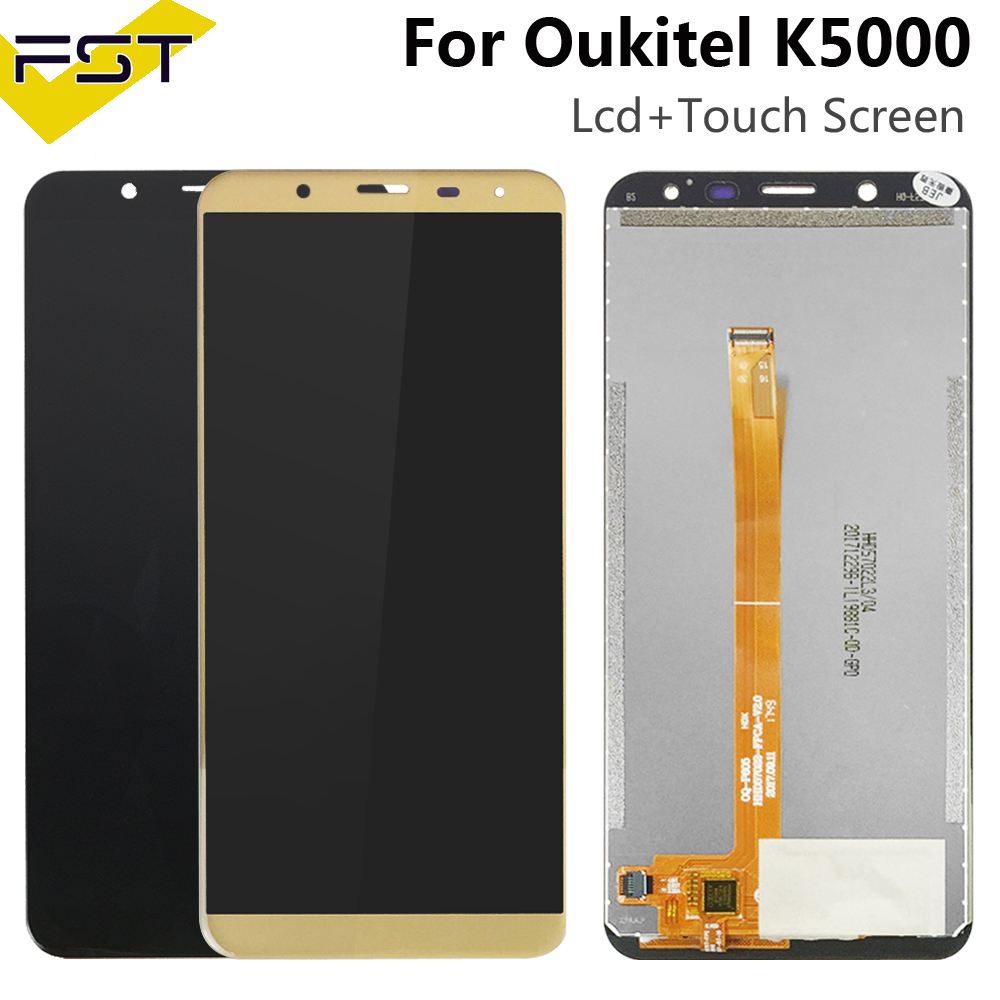 Black/Gold 720*1440 Tested Well For <font><b>Oukitel</b></font> <font><b>K5000</b></font> <font><b>LCD</b></font> Display and Touch Screen Digitizer Assembly Free Shipment+Tools image
