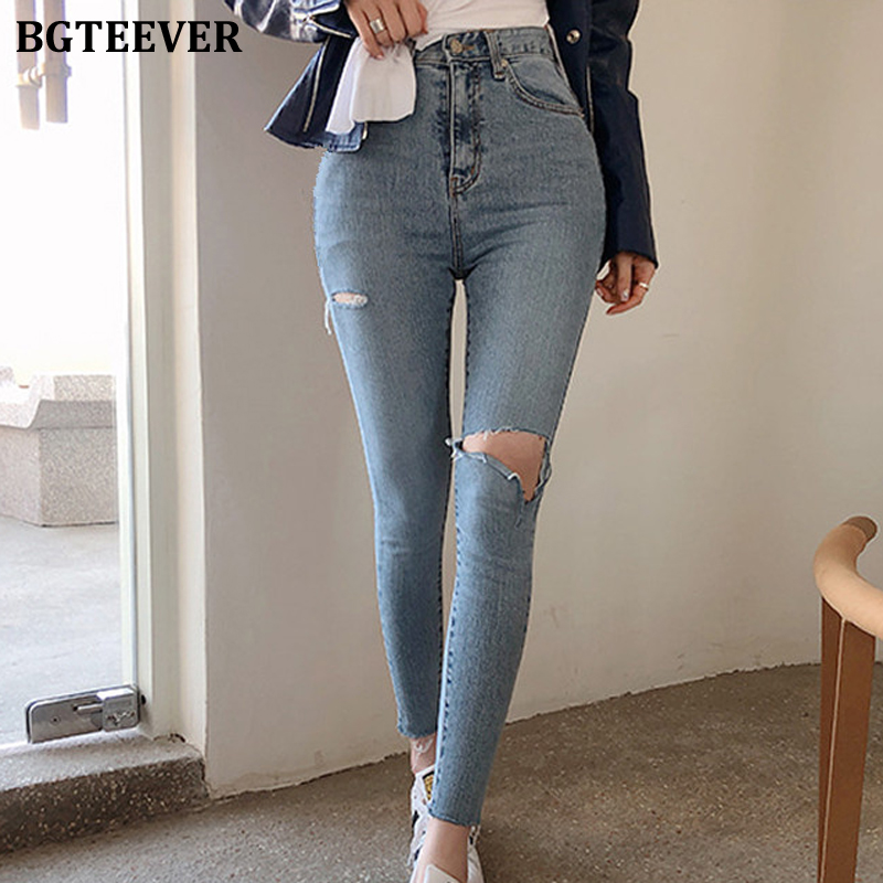 BGTEEVER Streetwear Denim Blue High Waist Jeans Woman Vintage Ripped Holes Jeans for Women Pockets Skinny Pants Female 2019