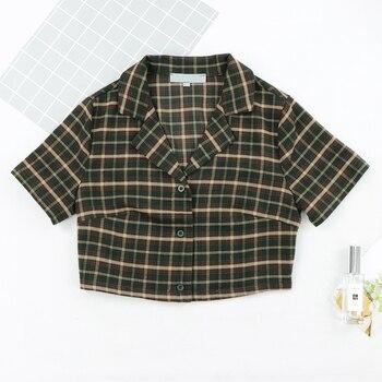 2020 za women Streetwear Turn Down blouse women Fashion Center Buttons crop top Tartan Cropped fitted Blouse harajuku ropa mujer blouse 1207041 13