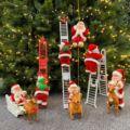 Музыкальная Рождественская игрушка Санта-Клаус электрическая лестница для подъема, Рождественская елка, подвесное украшение, праздвечерн...