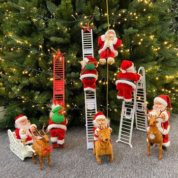 Music Christmas Santa Claus Toy Electric Climb Ladder Christmas Tree Hanging Ornament Party Decoration For Children New Year Toy christmas tree decoration ball metal decoration home christmas ornament decoration christmas party party hanging ball ornament