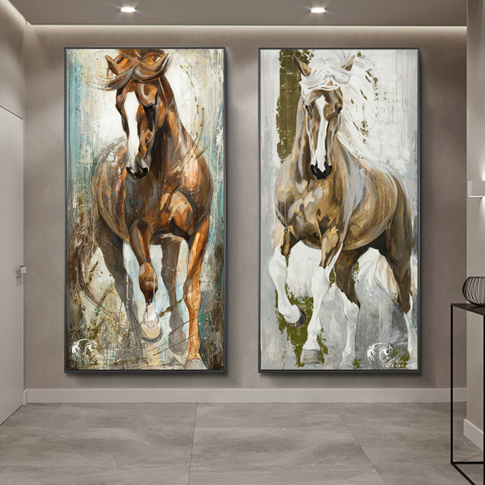 Galloping Horse Canvas Art Painting Poster Picture Bedroom Wall Decor Unframed