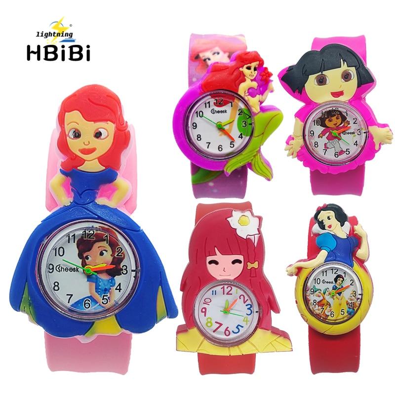 Women Cartoon Princess Mermaid Girl Style Kids Watches Bracelet Digital Dial Children Students Girls Clock Rubber Quartz Watch