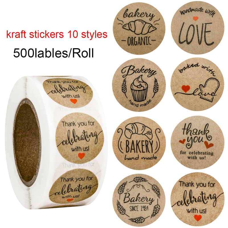 500Pcs/roll Natural Kraft Thank You Stickers Seal Labels 1in Round Handmade With Love Stickers Teacher Office Stationery Sticker