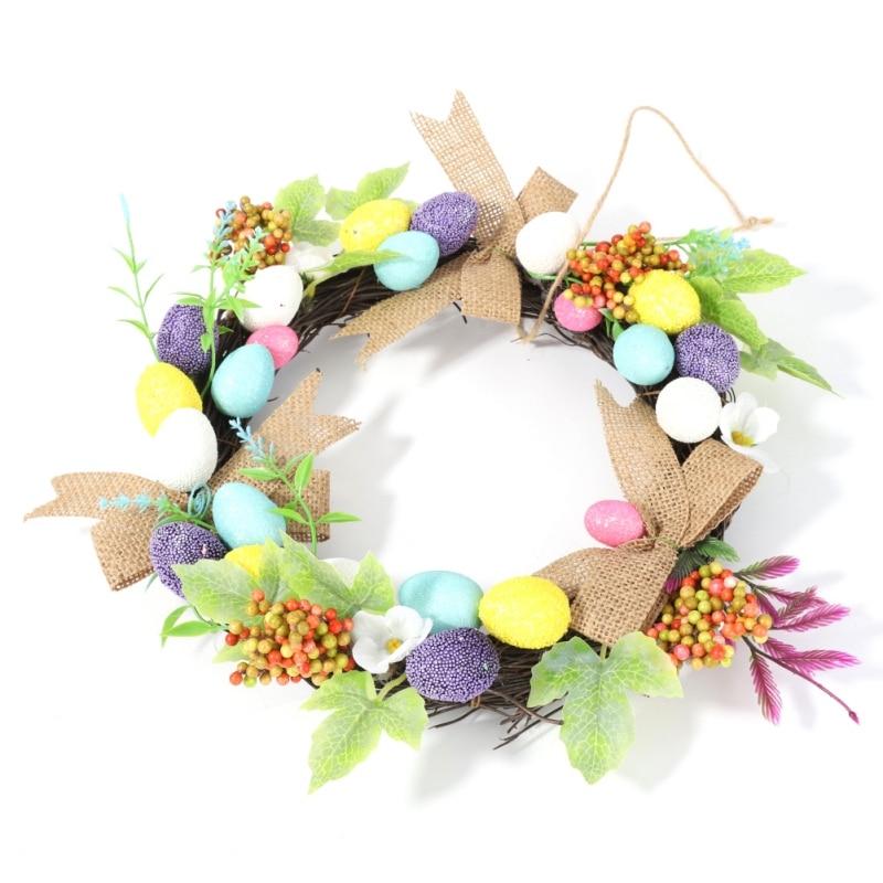 30cm Easter Egg Wreath Xmas Home Decor Natural Rattan Wreath Easter Party Wreath Crafts Egg Decoration Spring Wedding Wreath