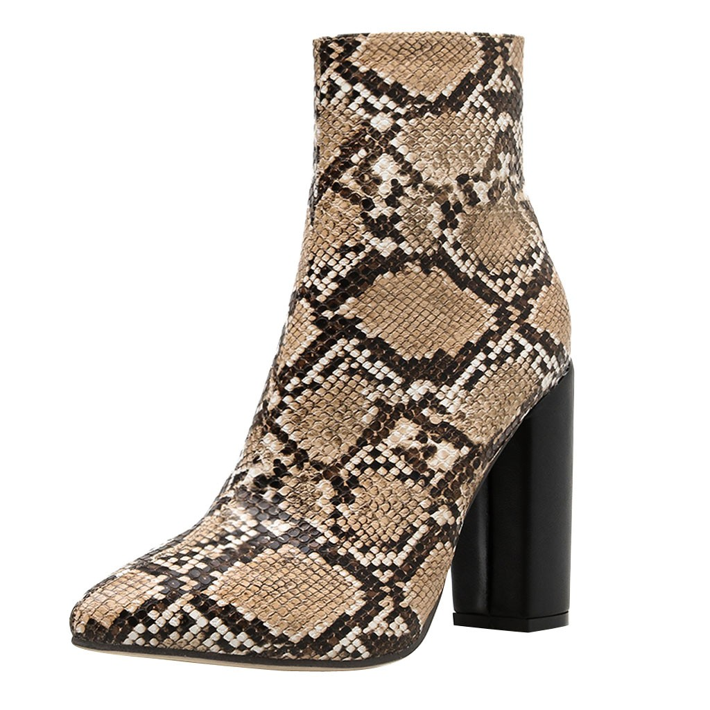 Jaycosin Shoes woman Zipper Boots Snake Print Ankle Boots Square high heels boots women Snake Print winter boots women 927 1
