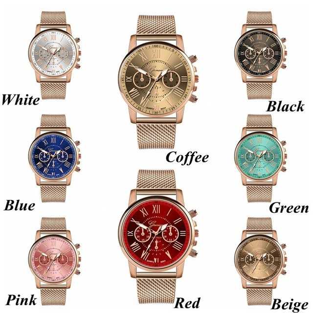 Stainless Steel Strap Watches For Women Luxury 2020 Rose Gold Dial Quartz Wrist Watch For Ladies Bracelet Reloj Mujer Relogio 2