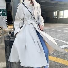 Korean Fashion Khaki Trench Coat For Women Fall 2019 Chic Casual Windbreaker Streetwear Long Coats Female White Vintage Outwear