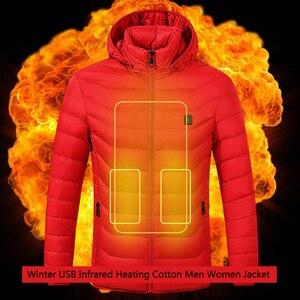 Image 2 - 冬暖かいハイキングジャケット男性女性スマートサーモスタットフード付き usb 加熱された服防水ウインドブレーカー男性黒フリースジャケット