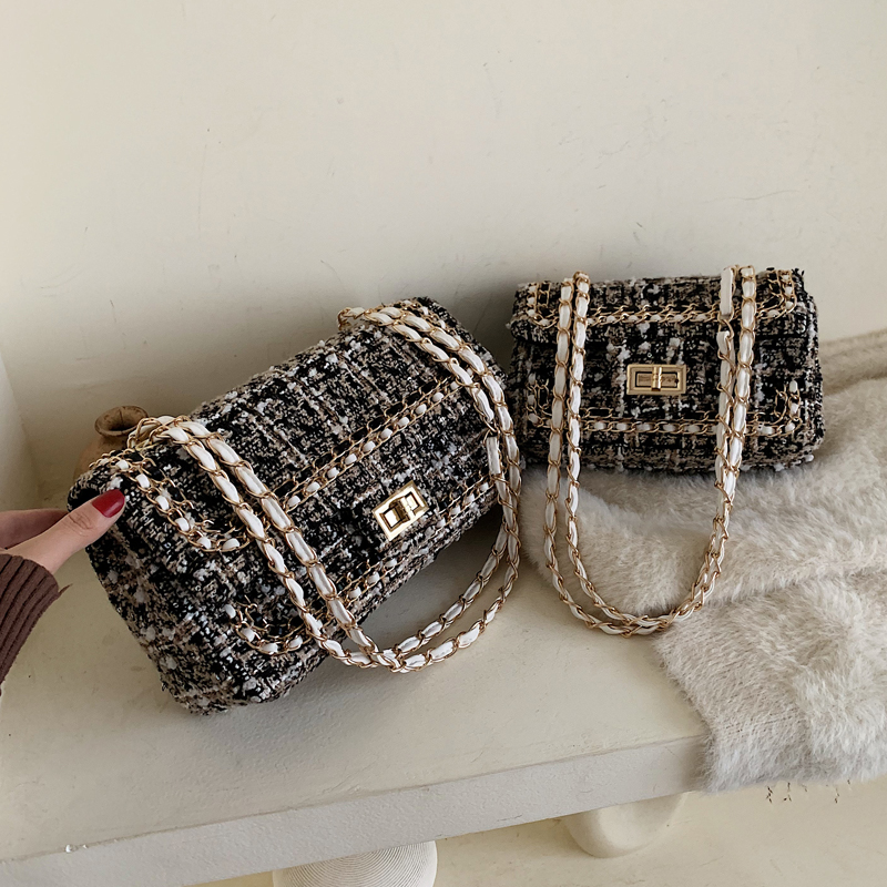 Autumn Winter Woolen Small Bags Women 2020 New Tide Korean Version Messenger Bag Chain Chic Small Fragrance Wind Square Bag