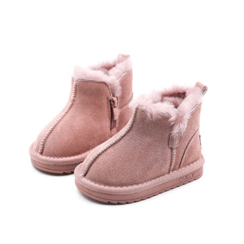 2020 New Winter Children Snow Boots Genuine Leather Wool Girls Boots Plush Boy Warm Shoes Fashion Kids Boots Baby Toddler Shoes new winter snow boots children girls genuine leather boots princess student warm with plush toddler shoes kids 041