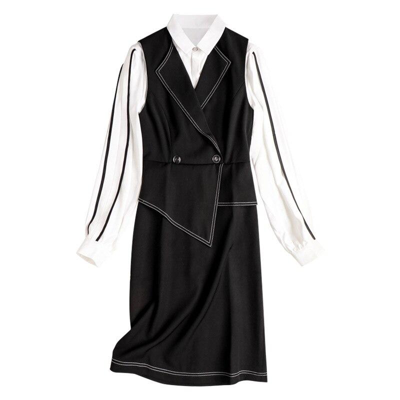 Women Dress Set 2020 Spring New Fashion Turndown collar Long sleeve Shirt + Black Vest Dress Two piece Set - 2