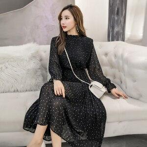Image 4 - 黒古着春女性ロングシフォンドレス2020新韓国ファッション女性長袖水玉プリーツドレス3670 50