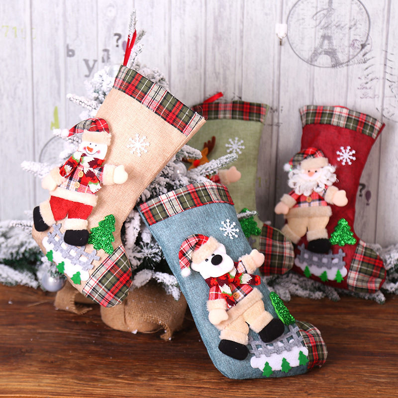 New Year 2020 Gifts Bag Christmas Stocking Christmas Decorations For Home Navidad Socks Natal Tree Decoration Noel DIY Supplies