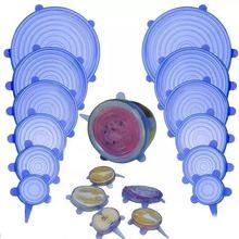 Синие 6 шт силиконовые крышки для кастрюли универсальная всасывающая крышка-миска растягивающиеся крышки маленькие большие кастрюли для приготовления пищи части для разлива крышки