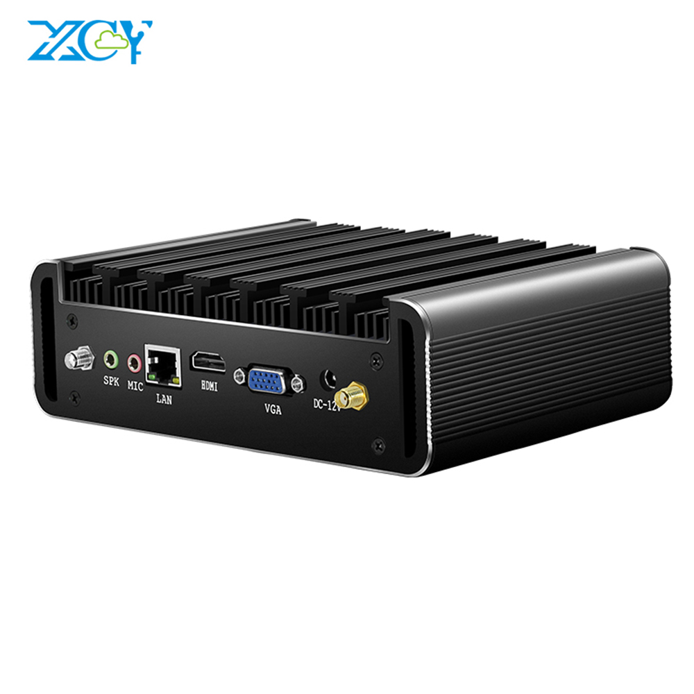 XCY 미니 PC 코어 i3 7100U <font><b>i5</b></font> 7200U i7 <font><b>7500U</b></font> Windows 10 4K UHD HTPC HDMI DDR3 마이크로 컴퓨터 300M WiFi 6xUSB 팬리스 minipc image