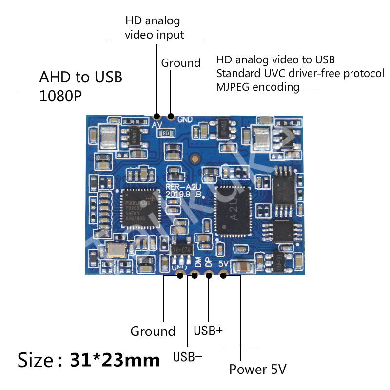 AHD To USB Module HD Analog Video Input Conversion USB Camera UVC Drive-free Stamp Hole 1080P