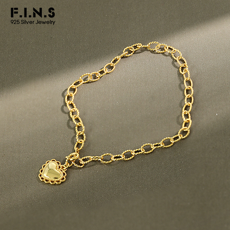 F.I.N.S S925 Sterling Silver Anklet Delicate Lace Heart-Shaped Pendant Gold Chain Female Anklet Silver Foot Jewelry