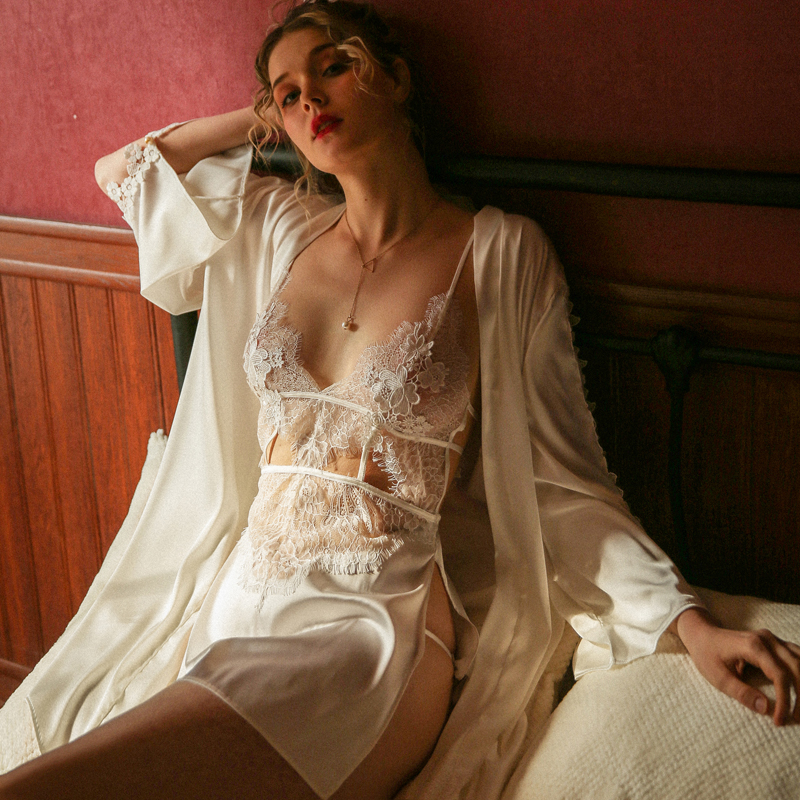 Munllure Sexy Suspender Pajamas Women Transparent Lace Water Soluble Floating Flower Temptation Split Fork Sexy Night Suit