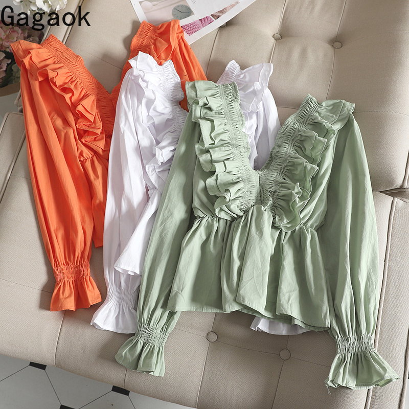 Gagaok Women Sweet Blouse Spring Autumn New Arrival Solid V-Neck Flare Sleeve Ruffles Slim Chic Wild Female Fashion Korean Shirt