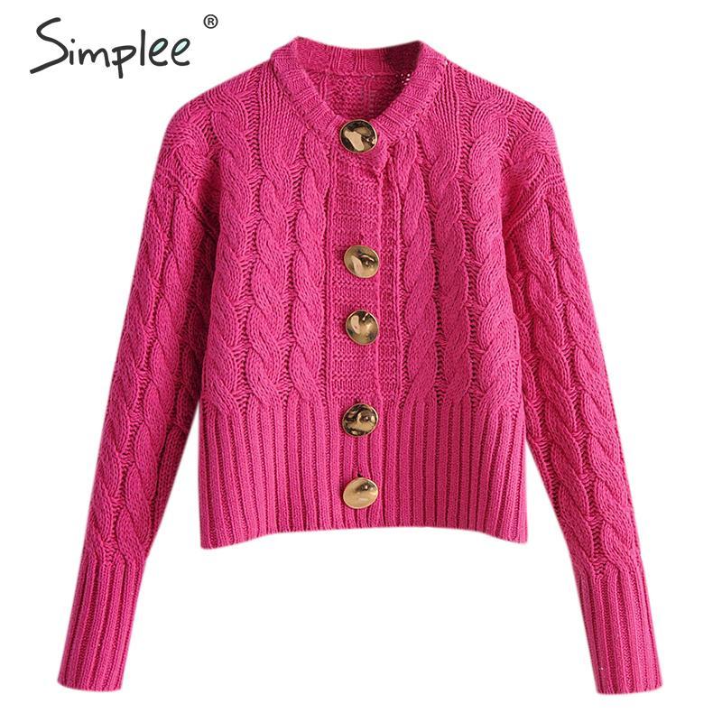 Simplee Twist Single-breasted Women Cardigans Sweater Autumn Winter High Waist Female Cardigan Coat Streetwear Knitted Cardigan