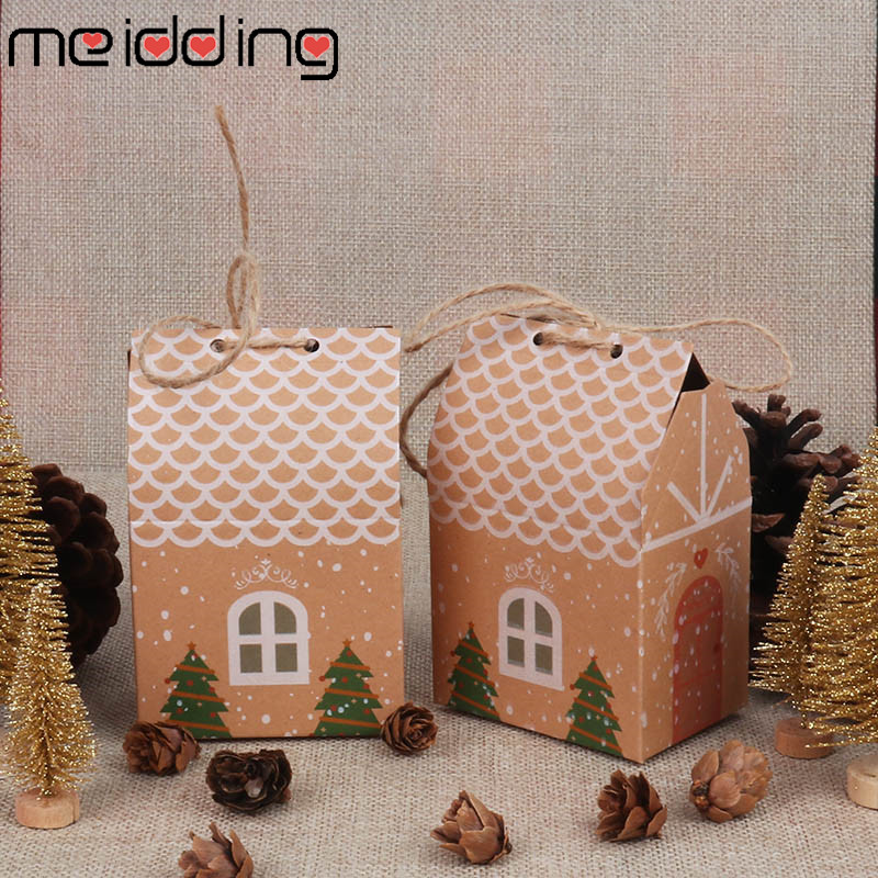 5 PCS Merry Christmas Paper Bag Christmas Tree Candy Gift Packing Bag Gift Paper Bag Kraft Candy Box Like Home Shape With Rope
