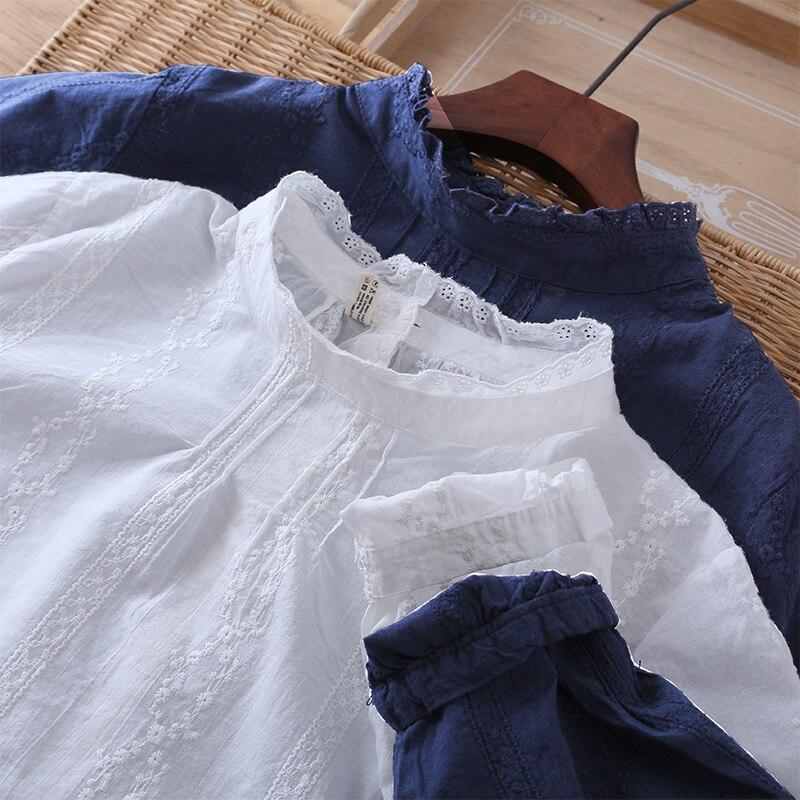Женская хлопковая блузка на пуговицах сзади с вышивкой, со шнуровкой, воротником-стойкой и длинным рукавом