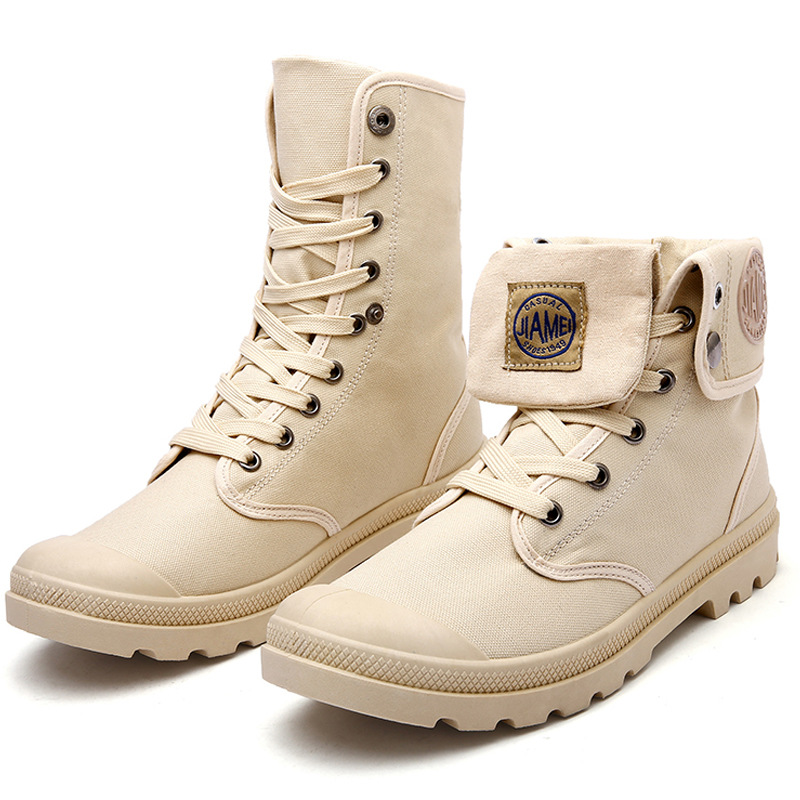 2019  new Korean version of the large size British Martin boots breathable canvas boots high to help desert boots four seasons