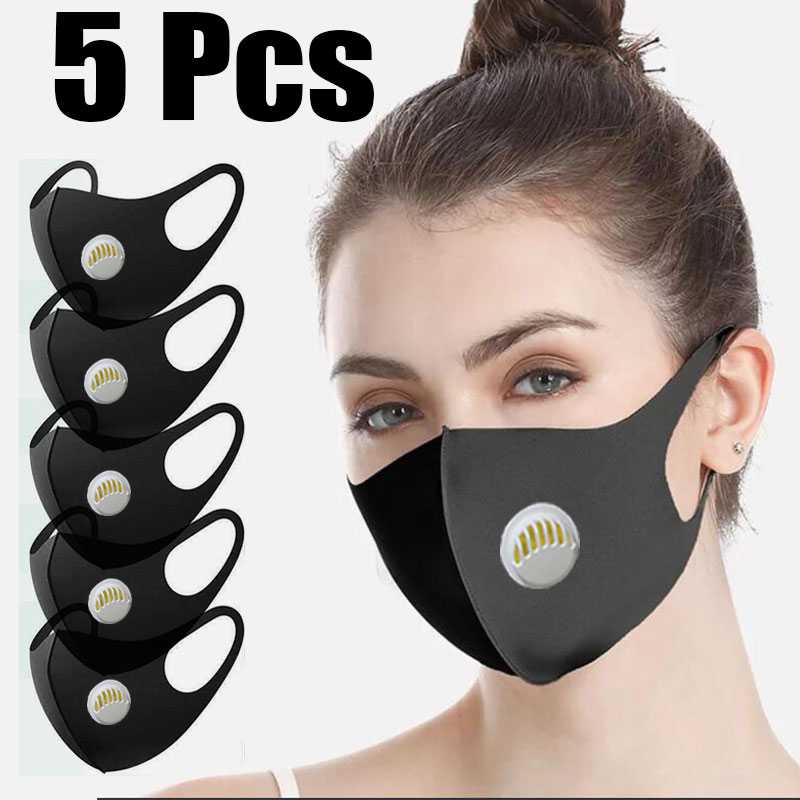 5 Pcs Face Mouth Mask Anti-Infection Virus Activated Carbon Filter Mouthmask Unisex Anti-dust Mouth Facemask Washable Reusable