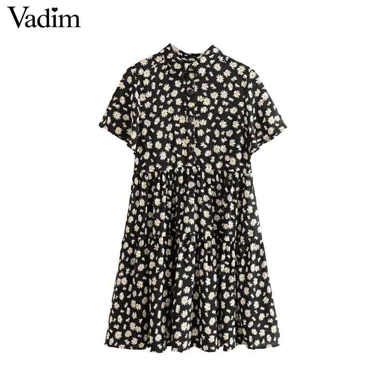 Vadim women retor floral print mini dress short sleeve high waist pleated vintage female casual stylish dresses vestidos QC621