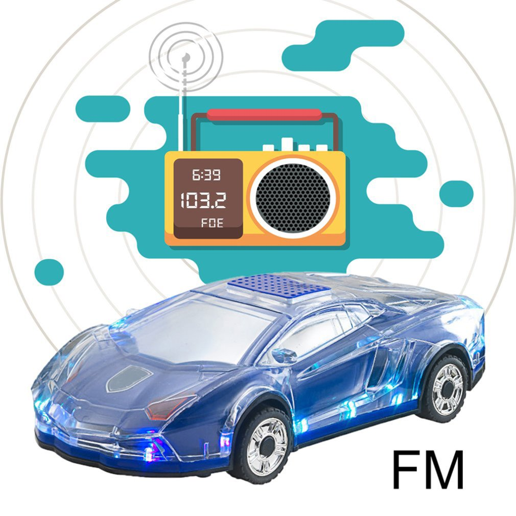 Mini Auto-förmigen Lautsprecher Bunte LED Licht-Auto Bluetooth Wireless Lautsprecher TF Karte FM Radio Handfree Subwoofer ML63 blau