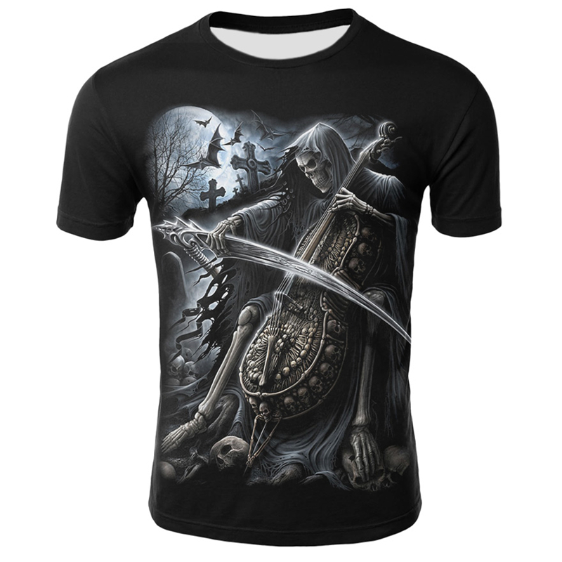 Men Guitar Skull T-shirt Summer Casual Short Sleeve Tops Tee O Neck Clothing Love Music Skull Printed Tshirt Male Clothes